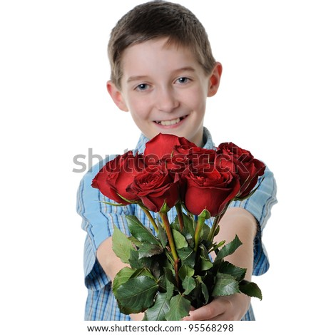 boy giving a rose- isolated - stock photo