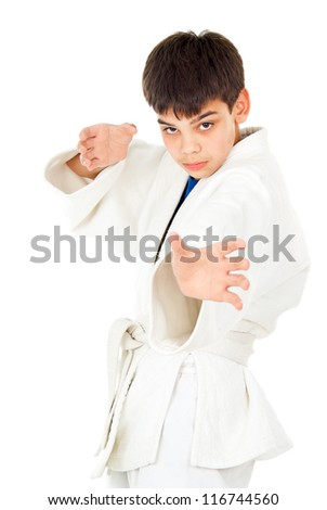 boy goes in for sports wrestling - stock photo