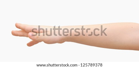 boy hand isolated on white background - stock photo