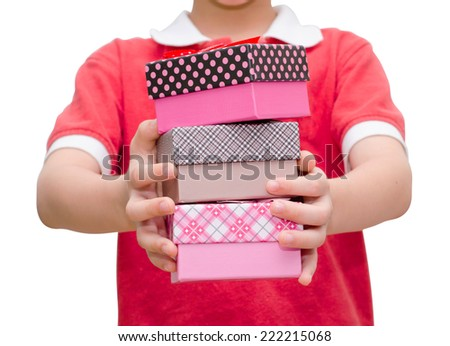 Boy hands holding and giving gift  - stock photo
