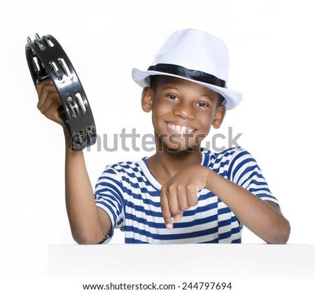 Boy having fun at Carnival in Brazil - stock photo