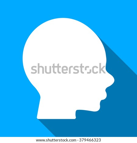 Boy Head long shadow raster icon. Style is a flat light symbol with rounded angles on a blue square background.