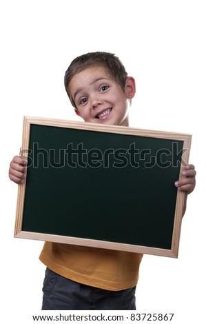 boy holding a blackboard over white background - stock photo