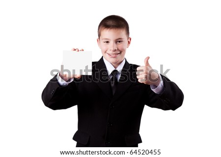 Boy holding a business card,  isolated on white - stock photo