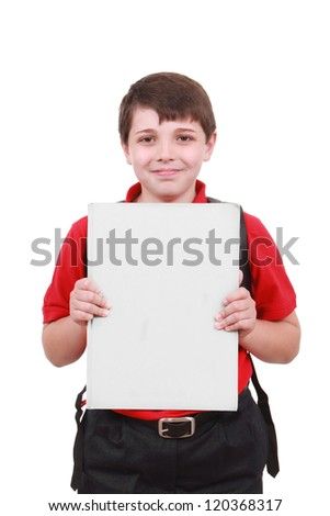 Boy holding a large white paper