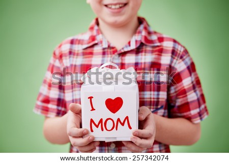 Boy holding a present for his mother - stock photo
