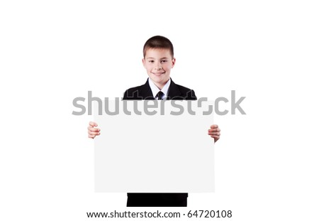 Boy holding  banner isolated on white - stock photo