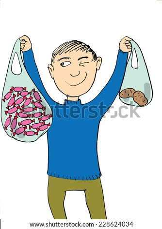 Boy holding big candy bag and little potatoes bag, cartoon - stock photo