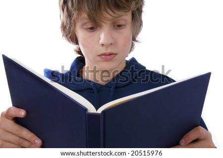 Boy holding books - stock photo