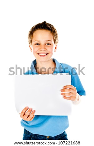 boy holding empty sheet of paper - stock photo