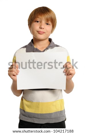 Boy Holding Horizontal Sign. Nine year-old boy holding a blank white sign. Add your own text. Isolated on white. - stock photo