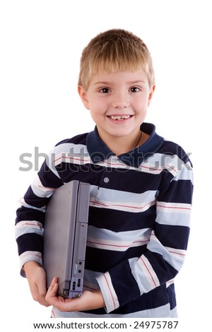 Boy holding laptop and smiling brightly