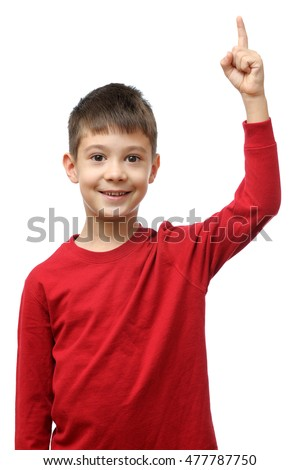 Boy holds finger up isolated on white background
