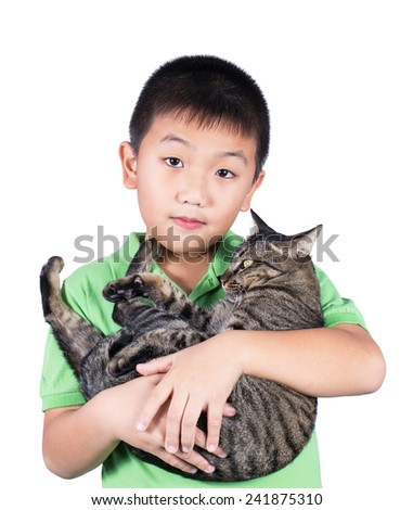 boy hugging with his cute tiger cat isolated on white background - stock photo
