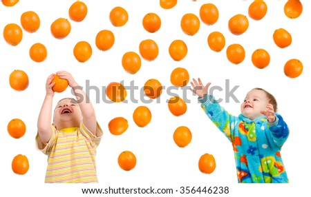 boy hunts for orange isolated on white background - stock photo
