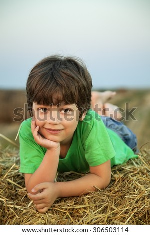 boy in a haystack in the field in autumn - stock photo