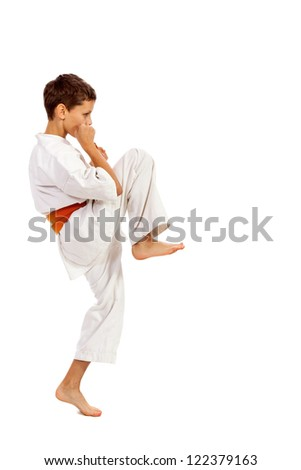 Boy in a kimono practicing martial arts isolated over white background