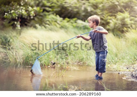 Boy in a pond with a fishing net catching fish in the summer sun concept for childhood, healthy lifestyle and vacation - stock photo