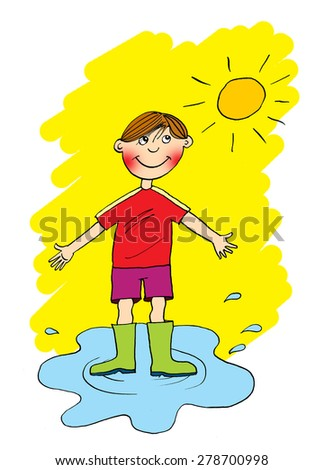 Boy in a pool of water, cartoon - stock photo