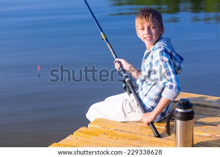 Child little girl fishing boat holding stock photo for Little girl fishing pole