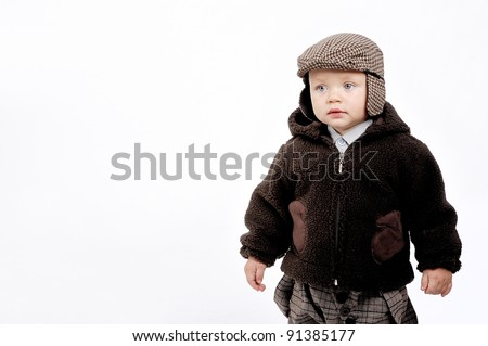 boy in brown cap - stock photo