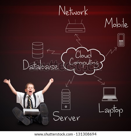 Boy in business suit with cloud computing diagram