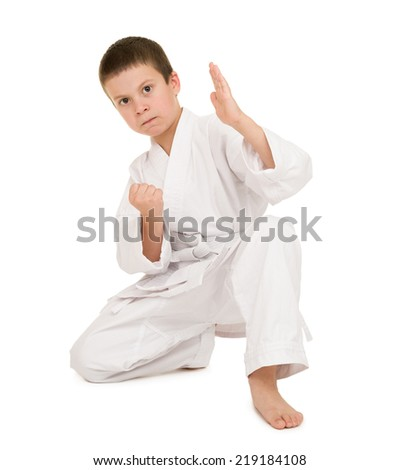 boy in clothing for martial arts posing - stock photo