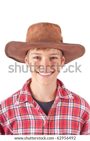 boy in cowboy outfit for halloween on white - stock photo