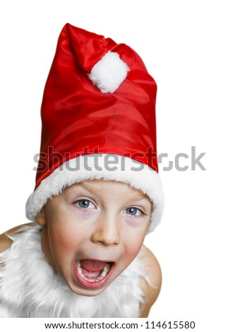 boy in dress Santa Claus shouts