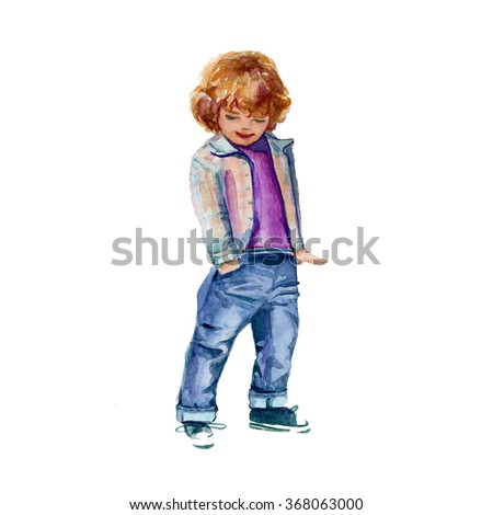 boy in shirt and trousers. children's fashion. isolated.watercolor technique