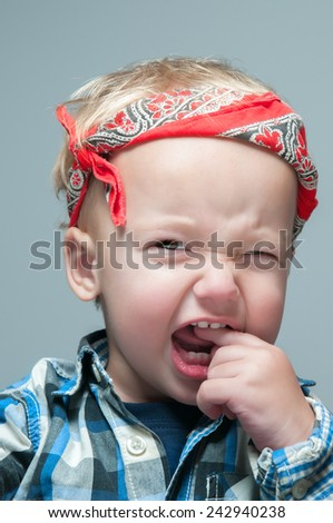 Boy in shirt on background - stock photo
