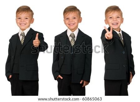 Boy in suit isolated on white background. Beautiful caucasian model.