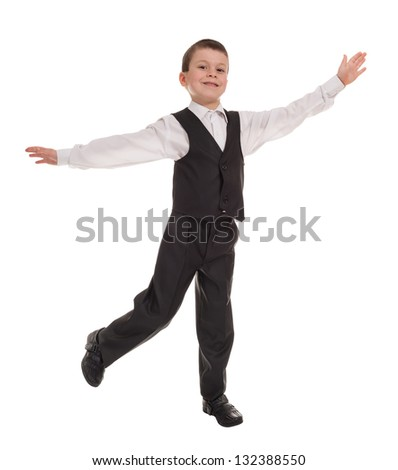 boy in suit open arms isolated