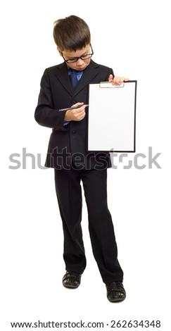 boy in suit show blank sheet clipboard - stock photo