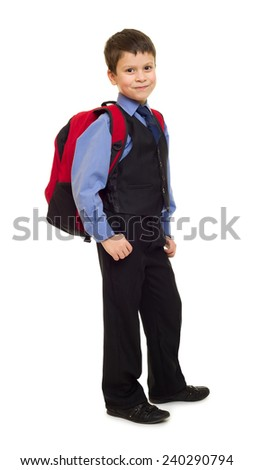 boy in suit with backpack on white - stock photo