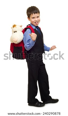 boy in suit with backpack on white
