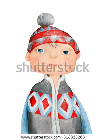 Boy in sweater and hat. Watercolor and gouache Illustration. Hand drawing - stock photo
