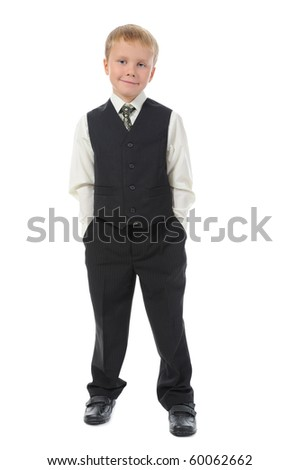 Boy in the fashionable suit. Isolated on white background