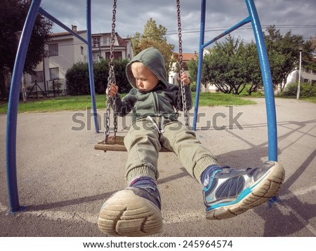 Boy in the hoodie - stock photo