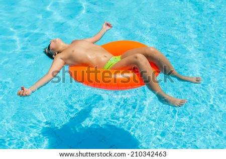 Boy in the pool. Photo for microstock