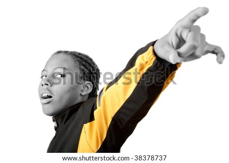 boy in warm-up jacket has arm extended with hand gesture - stock photo