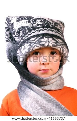 boy in winter cap - stock photo