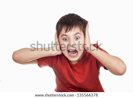 boy indignant, shouts, surprised separately on white background - stock photo