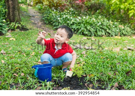 Boy is putting seeds in the soil in the vegetable garden - stock photo