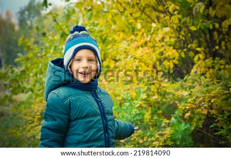 Boy is walking in the autumn park - stock photo