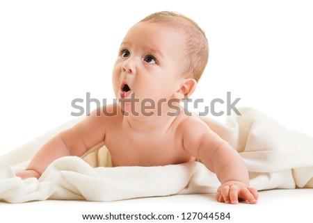 boy isolated on white background - stock photo