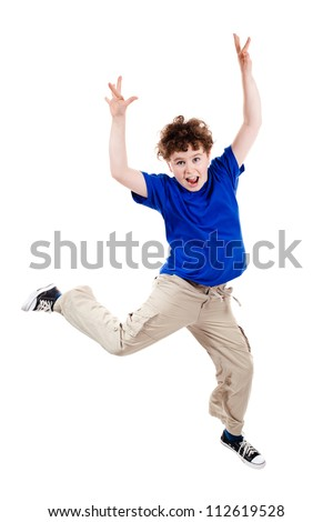 Boy jumping, running isolated on white background - stock photo