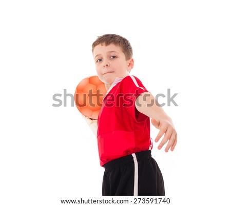 Boy kid child teen holding ball and throwing it, wearing football uniform, isolated on white - stock photo