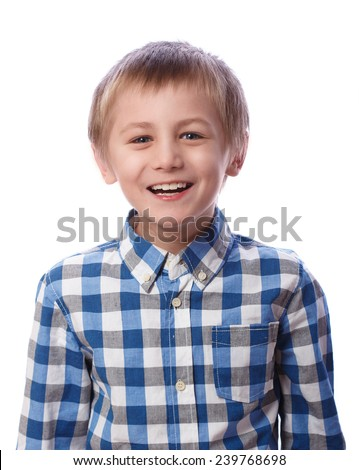 Boy laughs, 8 years old, isolated on a white background - stock photo