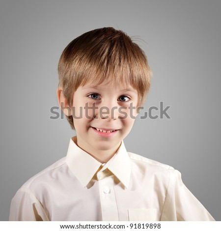 boy little emotional attractive set make faces isolated on gray background